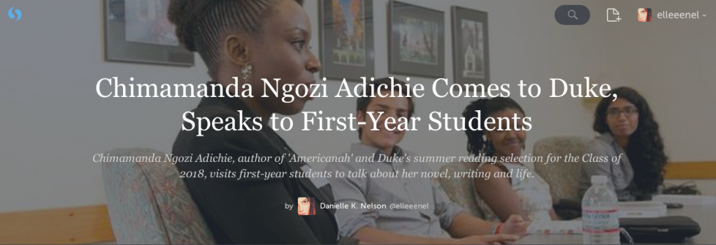 Chimamanda Ngozi Adichie Comes to Duke, Speaks to First-Year Students
